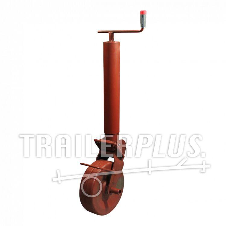 Steunwiel , halfautomatisch opklapbaar d.m.v. zware veren , Ø82 stalen wiel, 1400kg gemenied Simol