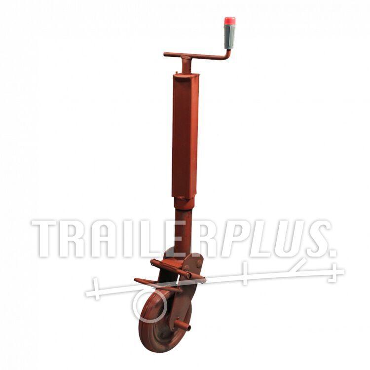 Steunwiel , halfautomatisch opklapbaar d.m.v. zware veren , 60 wiel met rubber loopvlak 600 gemenied