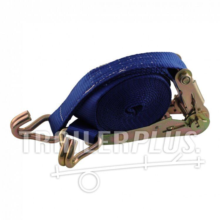 Sjorband, 2-delig , met ratel en dubbele punthaken blauw 50mm 5000mm Novio cargo