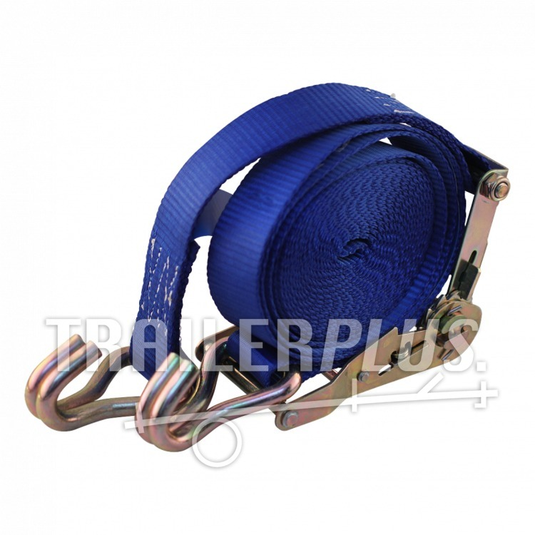 Spanband, 2-delig , met ratel en dubbele punthaken blauw 50mm 9000mm Novio cargo