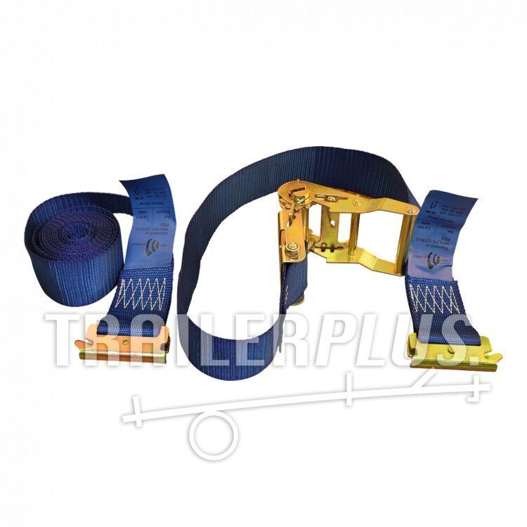 Spanband, 2-delig , met ratel, klikhaken voor rails,  blauw 50mm 3400mm Novio cargo
