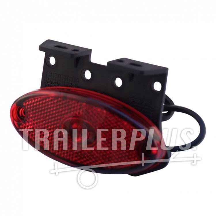 "Breedtelicht Aspöck Flatpoint II LED rood inclusief montagesteun 90° ""Z"" DC kabel 500mm"