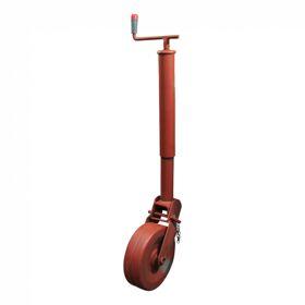 Steunwiel , handopklapbaar met vergrendeling d.m.v. stalen pen Ø70 stalen wiel Ø270x74 1000 gemenied