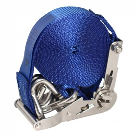 Spanband met rvs ratel en dubbele punthaak blauw 50mm 5000mm NOVIO CARGO