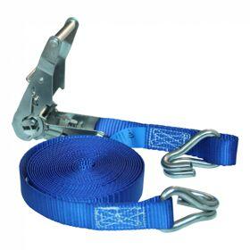 Spanband met rvs ratel en dubbele punthaak blauw 25mm 5000mm NOVIO CARGO