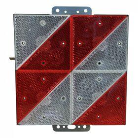 GEKA markeringsbord langzaam rijdend verkeer 285x285mm LOF rood + wit diagonaal gestreept. links