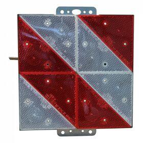 Markeringsbord langzaam rijdend verkeer 285x285mm rood + wit diagonaal gestreept rechts