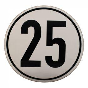 Markeringssticker 25km/h voor Duitsland Ø200mm wit met zwarte rand en zwarte letters