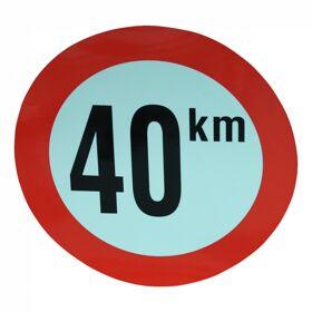 Markeringsbord 40km/h voor België Ø210 wit met rode rand en zwarte letters