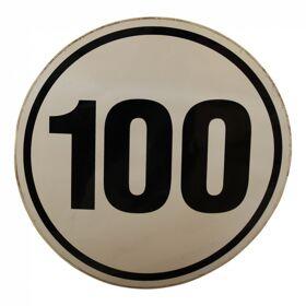 Markeringssticker 100km/h voor Duitsland Ø200mm wit met zwarte rand en zwarte letters