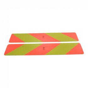 Markeringsbord motorwagens >3500kg 566mm x 197mm rood / geel schuin gestreept