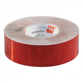 Reflecterende tape 50mm x 50mtr rood