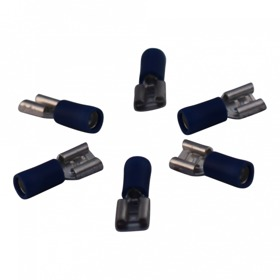 Kabelschoen vlakstekerhuls voor draad 1,5 - 2,5mm2 , 6,3x0,8mm, blauw doosje 100st.