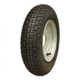 Wiel compleet, velg met band 3.50-8 V-9128 4PR + 2.50Ax8H2 ET0 60/100/4 46 N staal, grijs
